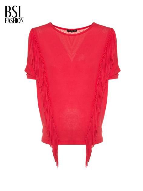 Czerwony t-shirt z frędzlami i siateczkowym tyłem                                  zdj.                                  2