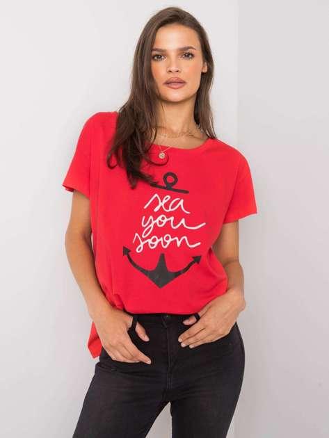 Czerwony t-shirt z nadrukiem Silva