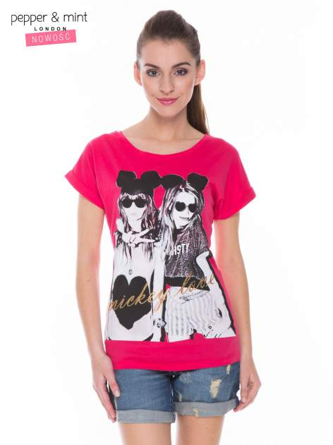 Czerwony t-shirt z nadrukiem inspirowanym Mickey Mouse
