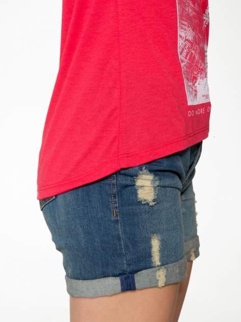 Czerwony t-shirt z nadrukiem wieży Eiffla                                  zdj.                                  8