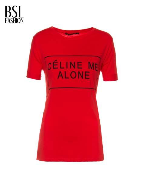 Czerwony t-shirt z napisem CÉLINE ME ALONE                                  zdj.                                  2