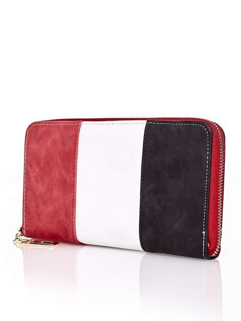 Czerwony trójkolorowy portfel z uchwytem                                  zdj.                                  2