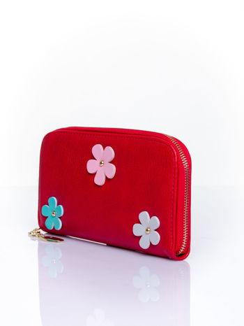 Czerwony zasuwany portfel w kwiatki                                  zdj.                                  3