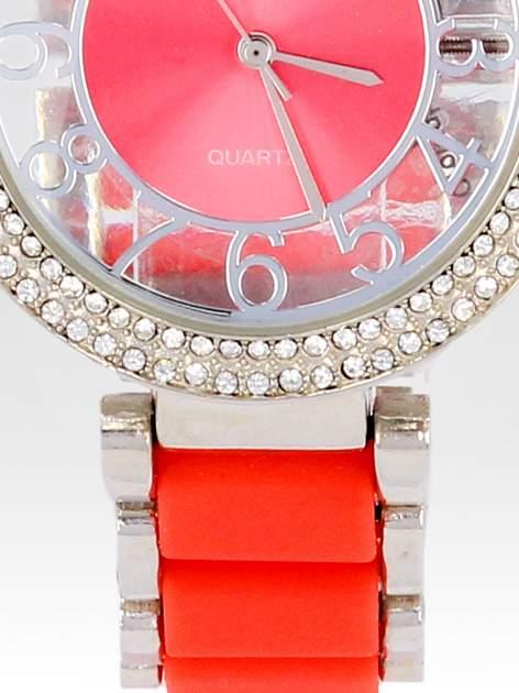 Czerwony zegarek na bransolecie z cyrkoniami na tarczy                                  zdj.                                  5