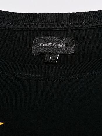 DIESIEL Czarny t-shirt męski z kolorowym napisem                                  zdj.                                  4