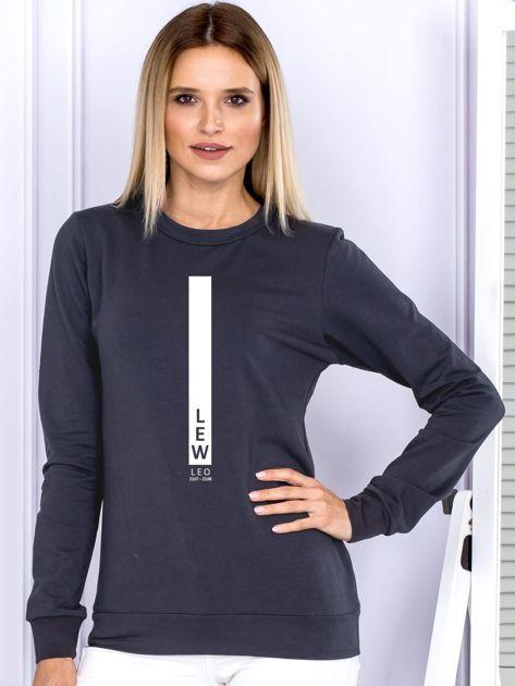 Damska bluza ze znakiem zodiaku LEW grafitowa                                  zdj.                                  1