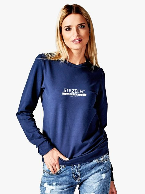 Damska bluza ze znakiem zodiaku STRZELEC granatowa                              zdj.                              1