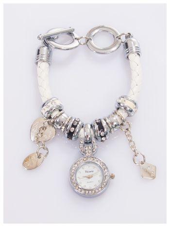 Damski zegarek na skórzanej bransolecie ozdobionej koralikami pandory