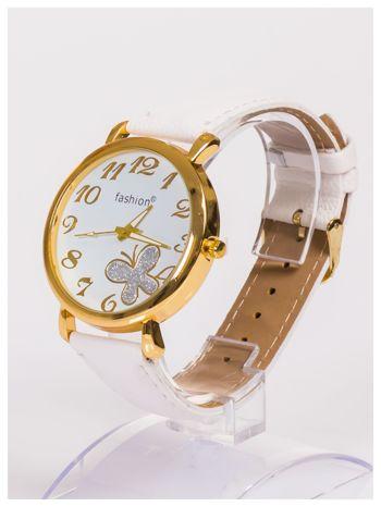 Damski zegarek z błyszczącym motylkiem na dużej i wyraźnej tarczy                                   zdj.                                  2