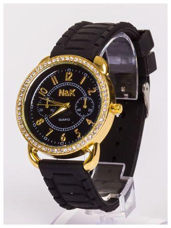 Damski zegarek z cyrkoniami oraz ozdobnym chronografem na dużej tarczy. Wygodny silikonowy pasek.                                  zdj.                                  4