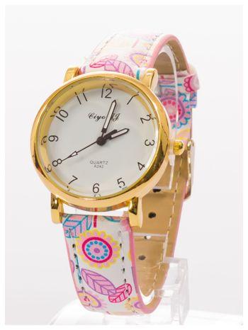 Damski zegarek z motywem kwiatowym na pasku                                  zdj.                                  2