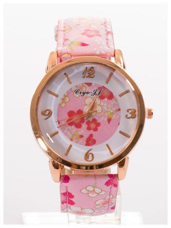 Damski zegarek z motywem kwiatowym na tarczy oraz pasku                                  zdj.                                  1