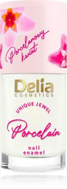 """Delia Cosmetics Porcelain Lakier do paznokci 2w1 z kwiatem porcelany nr 2 kremowy 11ml"""""""