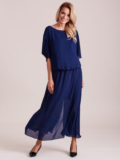 Długa zwiewna sukienka ciemnoniebieska                              zdj.                              4