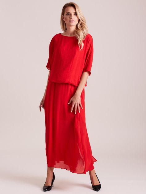 Długa zwiewna sukienka czerwona                              zdj.                              1