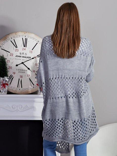 Długi ażurowany sweter szary                              zdj.                              2