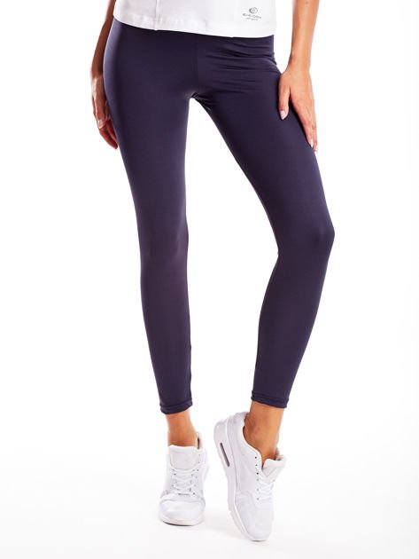 Długie grafitowe legginsy fitness o średniej grubości                                zdj.                              1