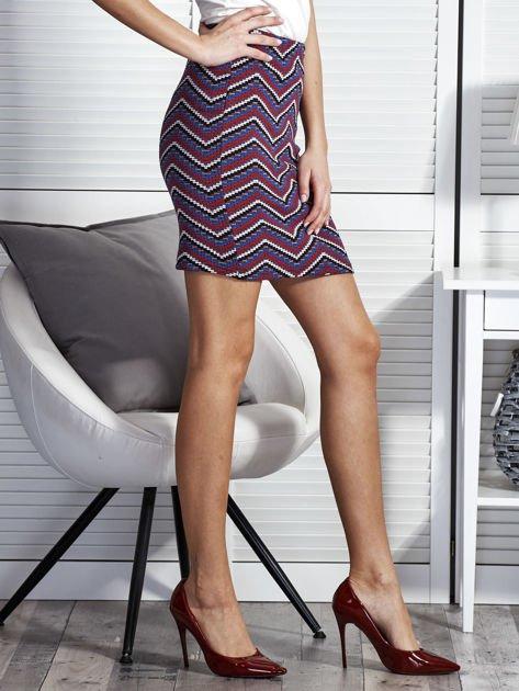 Dopasowana spódnica damska w etniczne motywy fioletowa                              zdj.                              5