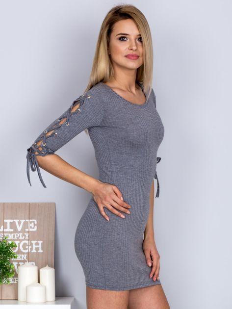 Dopasowana sukienka lace up w szeroki prążek ciemnoszara                              zdj.                              5