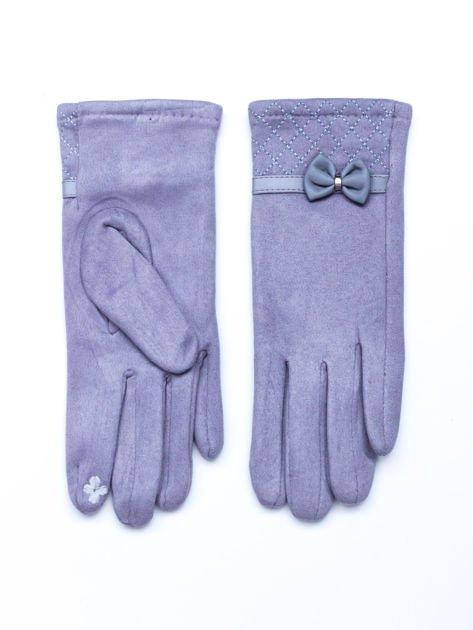Dotykowe zamszowe rękawiczki damskie z kokardą