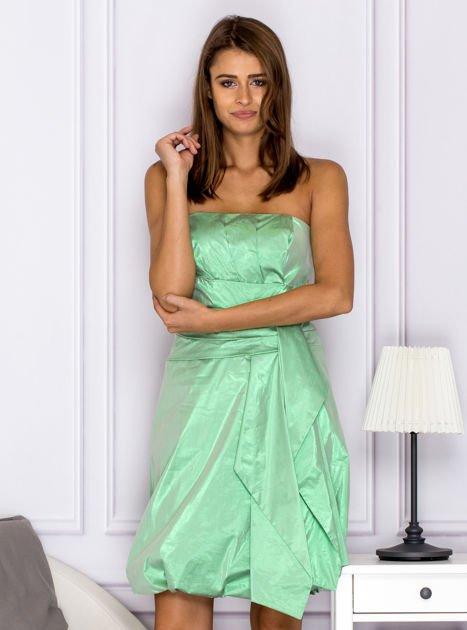 Drapowana sukienka z metalicznym połyskiem zielona                              zdj.                              1