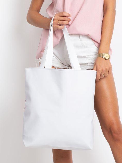 Duża biała torba z nadrukiem                              zdj.                              2