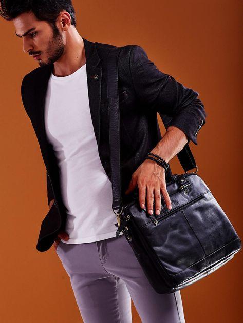 Dwukomorowa skórzana torba męska na ramię czarna                              zdj.                              5