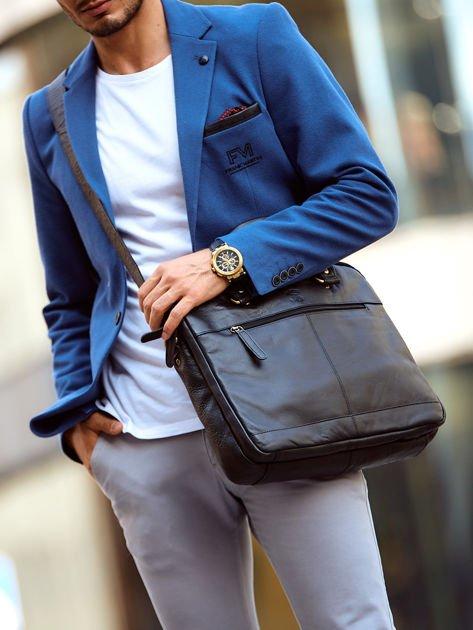 Dwukomorowa skórzana torba męska na ramię czarna                              zdj.                              1