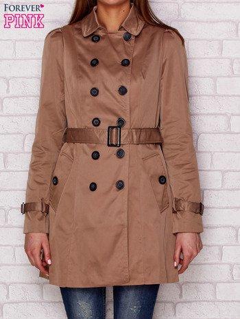 Dwurzędowy płaszcz z paskiem i kieszeniami ciemnobeżowy                              zdj.                              1