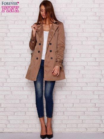Dwurzędowy płaszcz z paskiem i kieszeniami ciemnobeżowy                              zdj.                              5