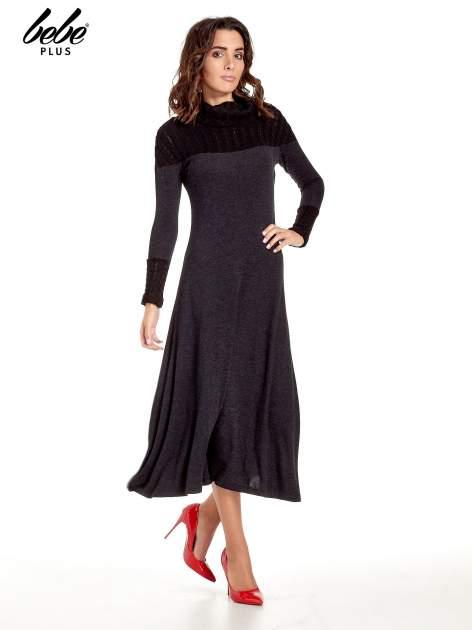 Dzianinowa sukienka maxi z warkoczowym golfem                                  zdj.                                  1