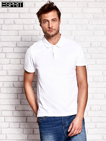 ESPRIT Biała gładka koszulka polo męska                                  zdj.                                  1