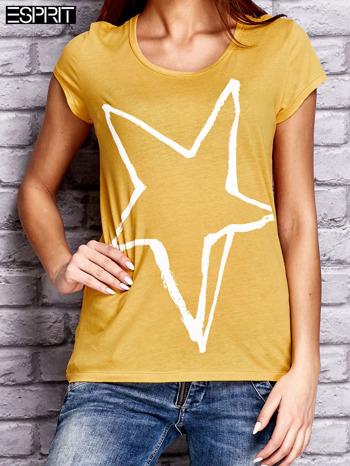 ESPRIT Żółty t-shirt z nadrukiem gwiazdy                                  zdj.                                  1