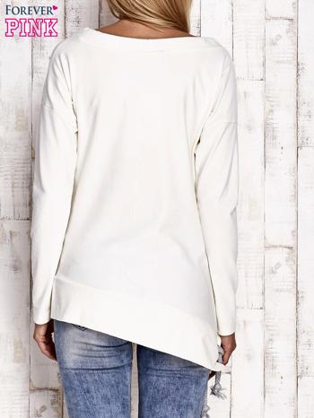 Ecru asymetryczna bluza z troczkami                              zdj.                              4