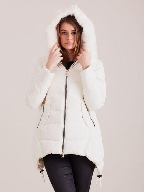 Ecru asymetryczna kurtka zimowa                              zdj.                              6