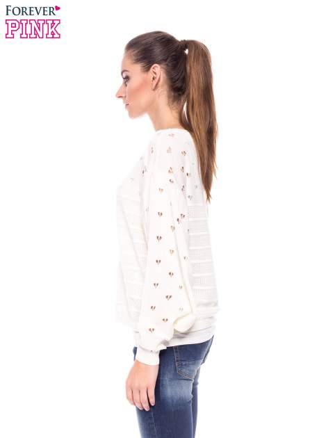 Ecru ażurowy sweter w serduszka                                  zdj.                                  3