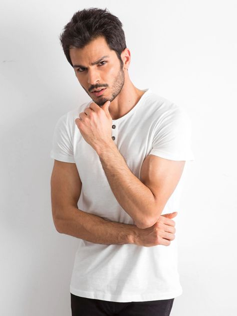 Ecru bawełniana koszulka męska                               zdj.                              1