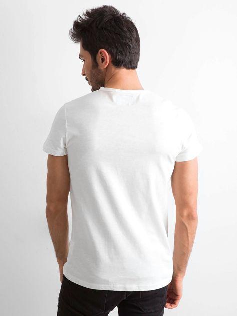 Ecru bawełniana koszulka męska                               zdj.                              2