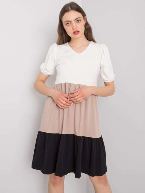 Ecru-beżowa sukienka na co dzień Kylie RUE PARIS