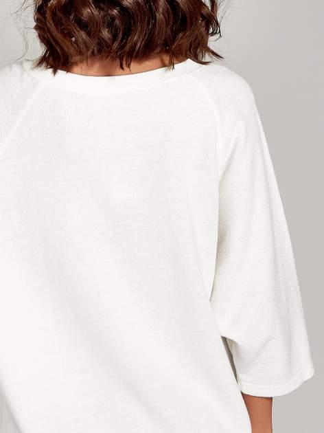 Ecru bluza oversize z łączonych materiałów                                  zdj.                                  6