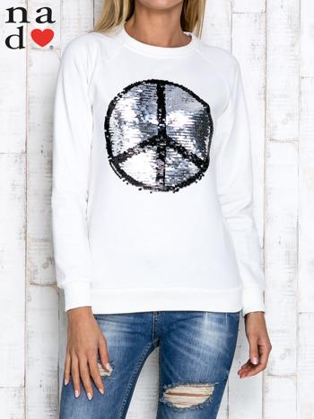 Ecru bluza z dwustronną naszywką z cekinów                                  zdj.                                  5