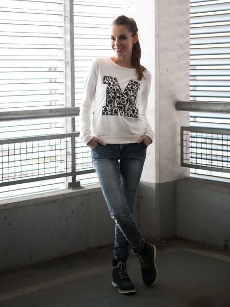 Ecru bluza z kwiatowym nadrukiem litery M                                  zdj.                                  9
