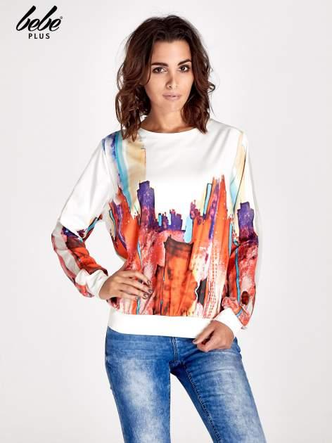 Ecru bluza z malowanym nadrukiem