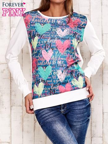 Ecru bluza z motywem serc
