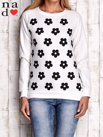 Ecru bluza z nadrukiem kwiatów