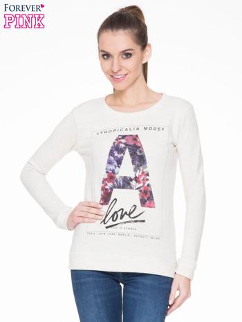 Ecru bluza z nadrukiem litery A z motywem kwiatowym                                  zdj.                                  1