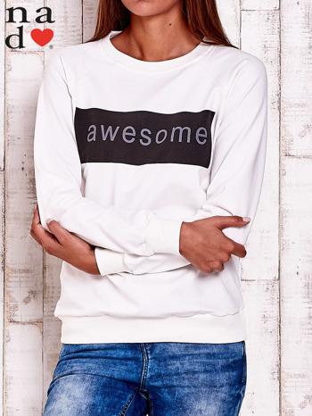 Ecru bluza z napisem AWESOME                                  zdj.                                  2