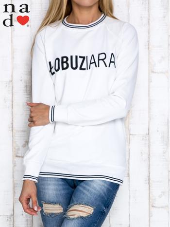 Ecru bluza z napisem ŁOBUZIARA