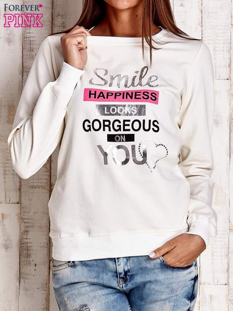 Ecru bluza z napisem SMILE HAPPINESS LOOKS GORGEOUS ON YOU