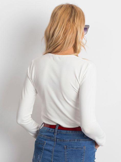 Ecru bluzka basic z długim rękawem                              zdj.                              2